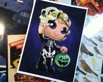 Trick or Treater #5 - Skeleton Girl - 5 x 7 inch Archival Digital Print - Open Ended