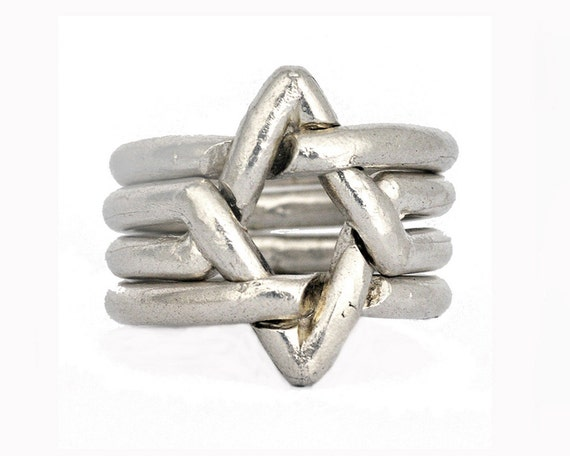 Star of David- 4 Piece Puzzle ring - Sterling silver. Unisex. Bar / Bat mitzvah unique Jewish gift. Geometric power ring.