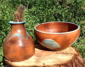 Clay bowl and bottle set, brown and tourquize glaze