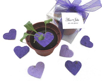 25 Seed Paper Hearts Wedding Favors Party Stylish Trendy Colors