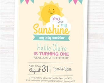 You Are My Sunshine Invite, Customized Sunshine Birthday DIY Party Invitation by MayDetails