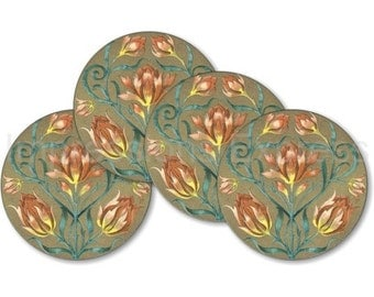 Victorian Floral Coasters - Set of 4