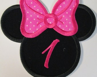 Iron On Applique -  Mouse Head  With Embroidered Number