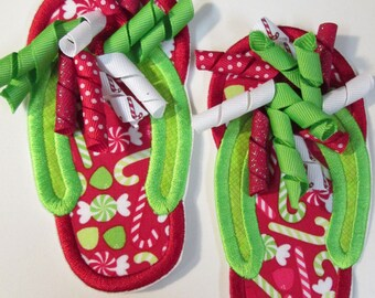 Christmas Holiday Korker Bow Flip Flops - Iron On or Sew On Embroidered Appliques