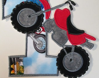 Dirt Bike Birthday Set - Iron On or Sew On Embroidered Applique