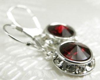 Red Crystal Earrings, Garnet Swarovski, Rhinestone, Sterling Silver, Bordeaux Wedding Handmade Jewelry, January Birthday Birthstone