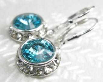 Teal Crystal Earrings, Light Turquoise Swarovski, Aquamarine, Sterling Silver, Drop Bridesmaid Wedding Jewelry, December March Birthstone