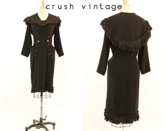 50s Dress Fringe Wiggle M / 1950s Vintage Dress Wool /  Black Beauty Dress