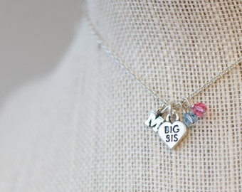 Big Sis new baby welcome sterling silver personalized initial small heart necklace