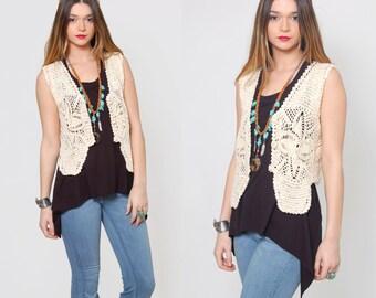 Vintage 70s Cream CROCHET Vest  FLORAL Knit Vest Hippie Vest Festival Boho Knit Top