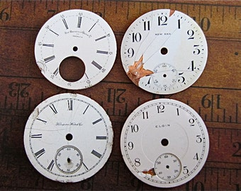 Vintage Antique porcelain pocket Watch Faces - Steampunk - Scrapbooking z66