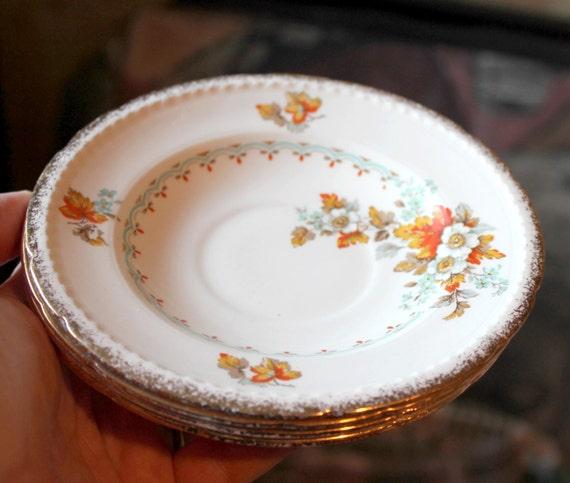 4 Vintage Swinnertones Majestic Vellum tea cup plates Autumn leaves, orange leaves plate,fall plates