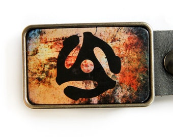 45 Thingy Record 70s Music Belt Buckle in Fire Tones