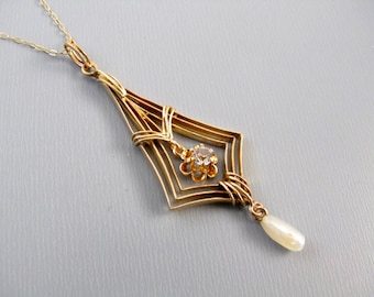 Antique Edwardian 10k gold diamond and freshwater pearl lavalier pendant necklace
