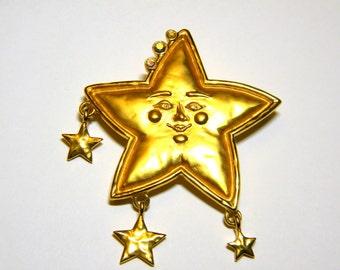 JJ Jonette Sparkling Star with Rhinestones Vintage Brooch Pin