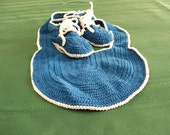 Blue Baby Booties and Bib Set, 0 -3 months