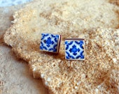 Portugal Blue Antique Azulejo Tile Replica Post Stud Earrings from Ovar (see photo of actual facade) Gift Box Included - Ships from USA 621