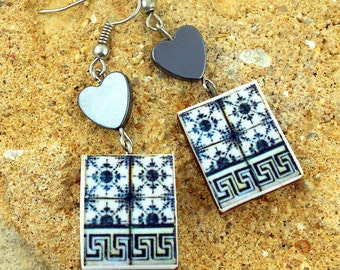 Portugal Gray Grey Antique Tiles with Border Replica Earrings  (see photo of actual Facade)  WATERPROOF 446