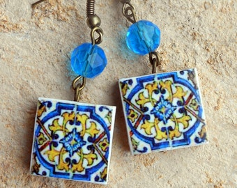 Portugal Azulejo Tile Earrings, Replicas from the AVEIRO Santa Joana Convent 1458, Waterproof and Reversible - 201