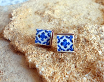 Stud Post Earrings Portugal Blue Antique Azulejo Tile Replica  - Ovar (see photo of actual facade) Gift Box Included -