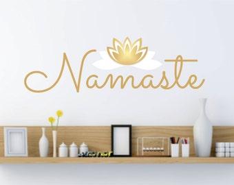Namaste wall decal, wall lettering, yoga studio, lotus flower, namaste sticker, vinyl wall word, peace decal, new age, lotus flower sticker