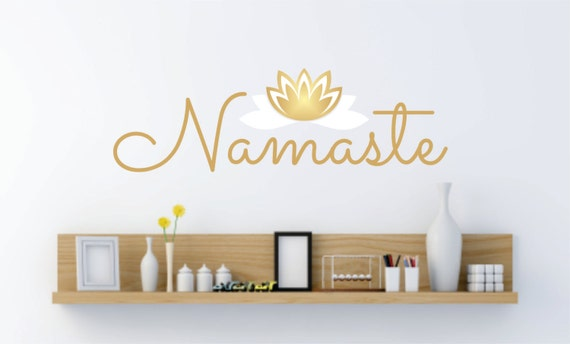 Namaste Wall Decal Wall Lettering Yoga Studio Lotus Flower - Zen wall decals