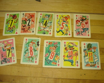 Vintage 1960's Themed Crazy Eights Cards - Set of 10 Bright Fun Illustrations