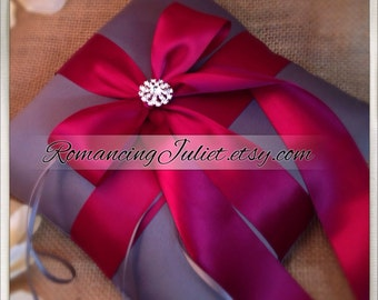 Romantic Satin Elite Ring Bearer Pillow with Rhinestone Accent...You Choose the Colors..BOGO Half Off..shown in charcoal gray/burgundy  red