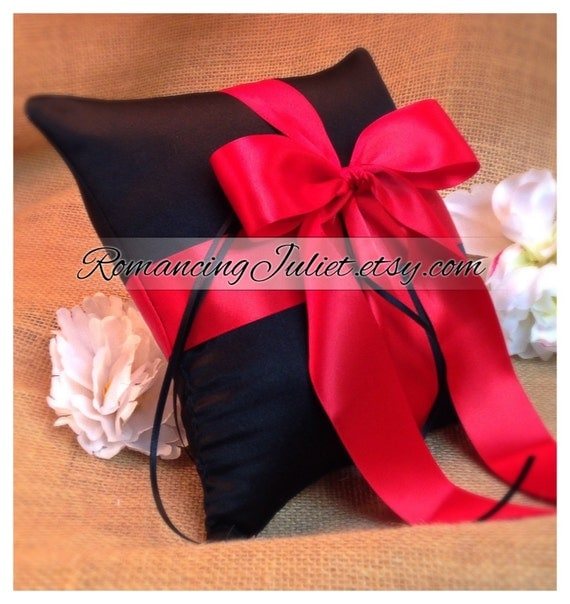 Romantic Satin Ring Bearer Pillow ...You Choose the Colors...Buy One Get One Half Off...shown in black/red