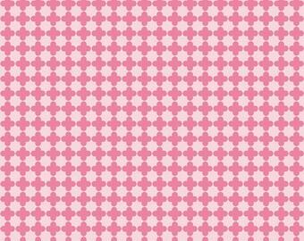 SPRING Sale - 2 3/8 yards - Mini Quatrefoil Cotton in Pink/Hot Pink - C345-71 Pink/ Hot Pink - Riley Blake Design