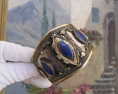 Vintage Tribal Cuff Bracelet Afghanistan Lapis Lazuli Silver Boho Festival