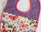Baby Bib - Butterflies with Purple and Gray Chevron on Watermelon Minky
