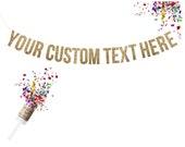 Custom Gold Glitter Garland. Custom Wedding Banner. Custom Adult Birthday. Custom Birthday Banner
