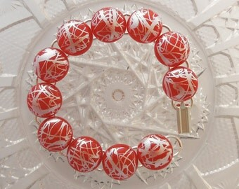 Dichroic Glass - Red Bracelet - Charm Bracelet - Dichroic Fused Glass Bracelet - Glass Jewelry - Fused Glass - Bangle X3278