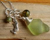 Sea Glass Necklace Wire wrapped Sea Glass mermaid tears