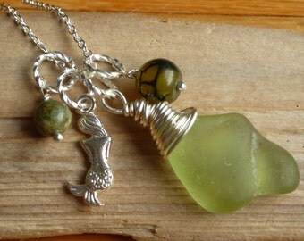 Sea Glass Necklace Wire wrapped Sea Glass mermaid tears