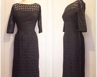 Black Eyelet 60s Wiggle Dress