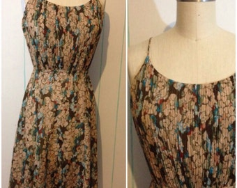 Floral Pleated Vintage Dress Size 8