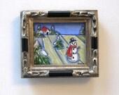 Acrylic Snowman Painting, Original Art, Landscape, Gift idea