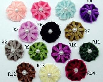 Pleated Velvet flower blooms (14 colour options) - 12 pcs