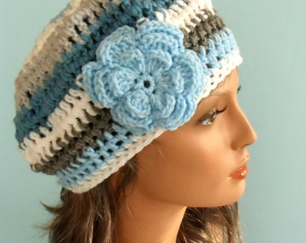 Blue, White and Grey Striped Beret