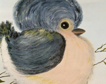 Vintage Blue Bird Painting
