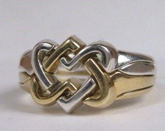 Celtic Hearts Puzzle Ring in Sterling Silver