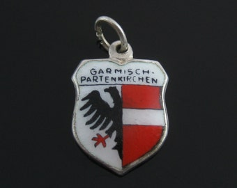 Charm, Sterling Silver,Garmisch Partenkirchen, Vintage, Travel Shield, Silver Charm