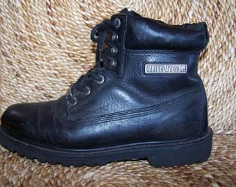 Harley Davidson Black Leather Boot shoe USA men size 8.5 /  women size 9.5