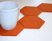 Hexagon Mega-Drink Geek Coffee Coaster Set 5mm Thick Wool Felt Fabric Geometric Oversized Extra Large Hostess Gift Orange Barware
