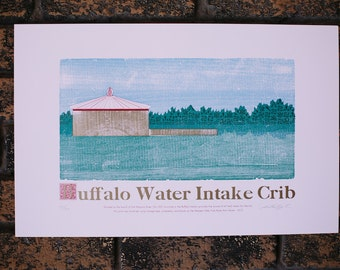 Buffalo Water Intake Crib - Letterpress Print
