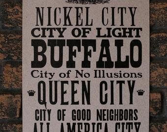 Buffalo Nicknames Letterpress Print on Chipboard