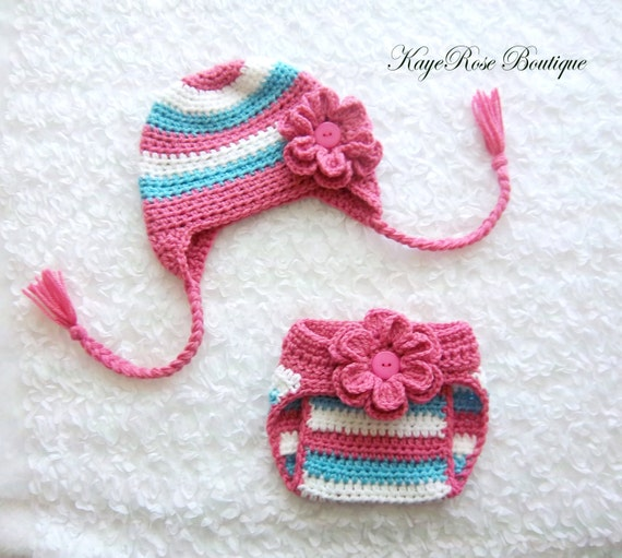 Crochet Hat Pattern For 8 Month Old : 6 to 9 Month Old Baby Girl Crochet Ear Flap Flower Hat and