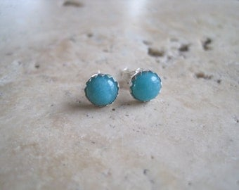 Amazonite and Sterling Silver Stud Earrings